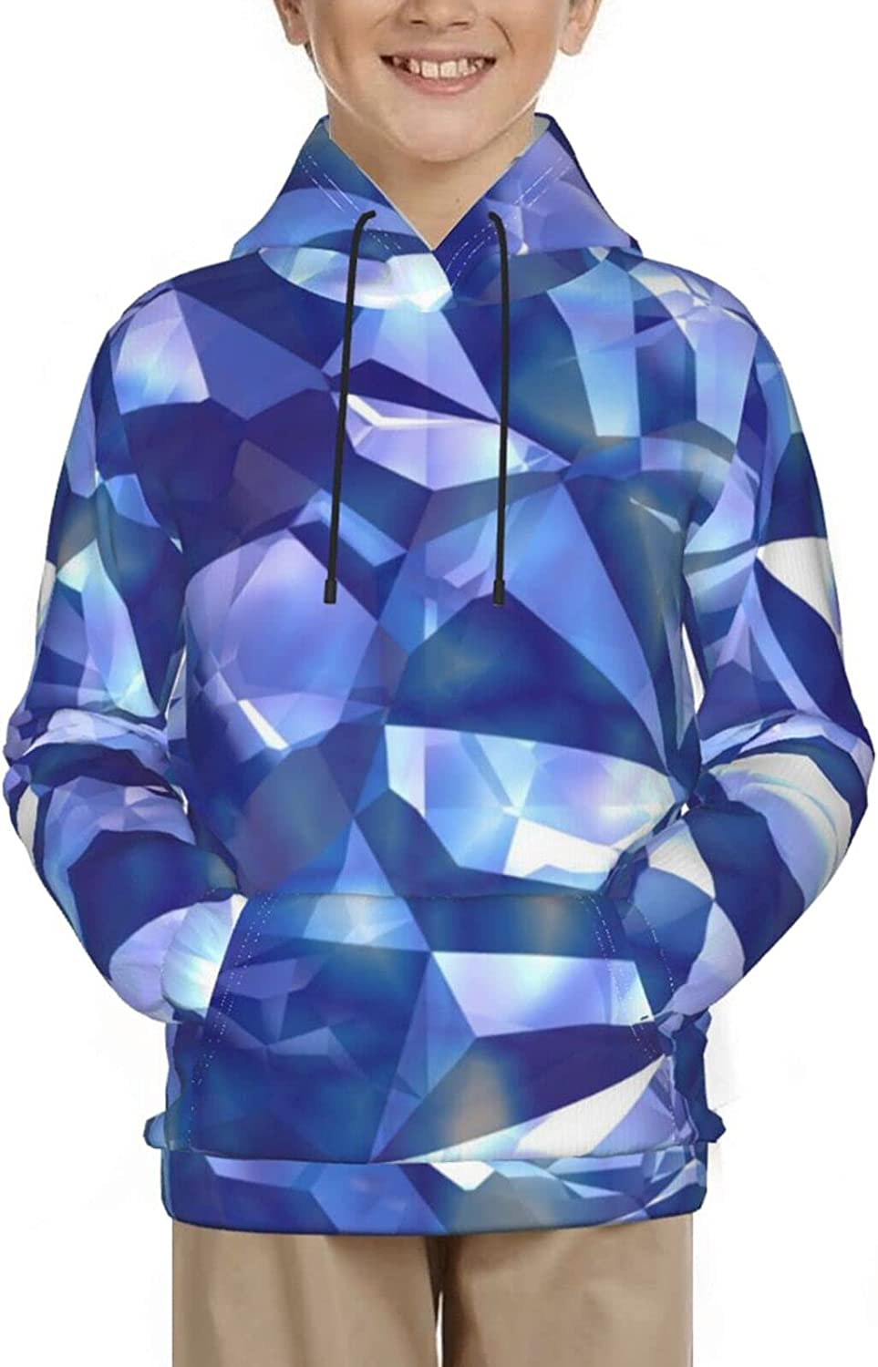 Blue Crystal Hoodies, Fashion 3D Print Sweatshirts, with Pocket Long Sleeves Pullover, for Boys Girls
