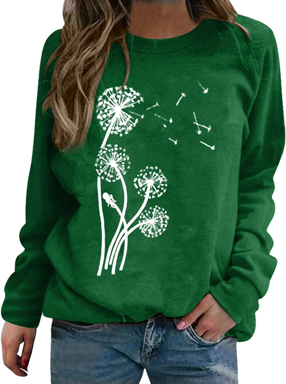 FABIURT Cute Sweatshirts for Women, Womens Casual Dandelion Print Long Sleeve Pullover Crewneck Graphic Sweaters Blouses