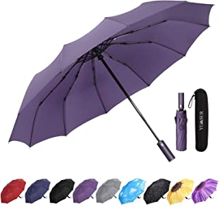 Jsmhh Compact Travel Umbrella - Windproof, Reinforced Canopy, Tested in 60mph Winds, Strong 10 Ribs Reinforced Windproof U...