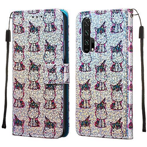 Boloker Cover Compatibile con Huawei Honor 20 PRO [con Pellicola in Vetro Temperato], Bling Colorate Disegni Cuoio Portafoglio Flip Case Wallet Custodia in PU Kick Stand Cover (Unicorno)