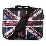 TaylorHe - Borsa per pc portatile da 15 / 15,6 / 16 pollici, in nylon resistente, con motivi colorati, tasche laterali, maniglie e tracolla staccabile London Bridge, Union Jack