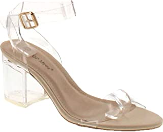 low heel clear sandals