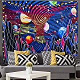 Kuchisity Trippy Star Tapestry, Mountain and Planet Wall Tapestry, Include 2 Fairy String Lights, Room Decor Art Print Fabric For Living Room Bedroom (Blue, 130 x 150cm)