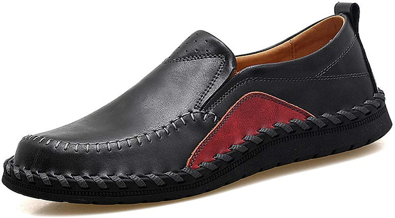 ZHRUI Men Loafers Slip on Casual Leather shoes Moccasins Sandals (color   Black, Size   9=43 EU)