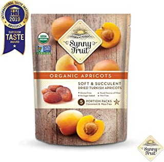 ORGANIC Turkish Dried Apricots – Sunny Fruit – (5) 1.76oz Portion Packs per..