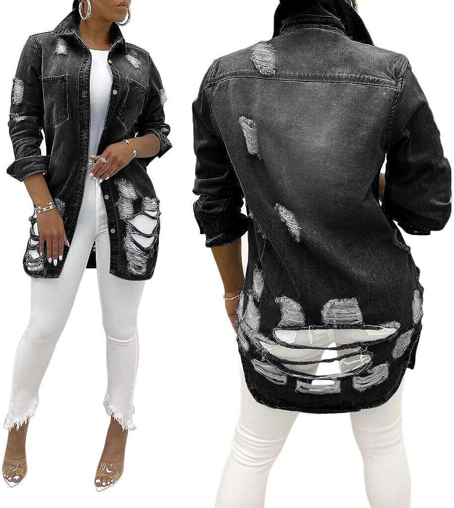 Women Casual Ripped Denim Jacket Long Sleeve Lapel Buttons Jean Coats Single Breasted Long Denim Cardigan
