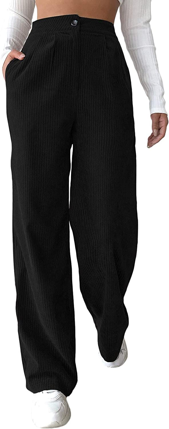 Milumia Women's Casual High Waisted Button Front with Pockets Work Office Wide Leg Corduroy Pants