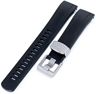 22mm Crafter Blue Rubber Watch Band, Color Black, Curved Lug for Seiko Samurai SRPB51