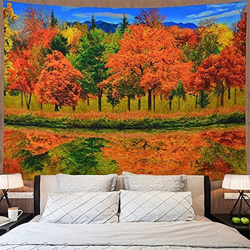 TEDDRA Tapiz de otoño bosque amarillo verde árboles tapiz otoño naturaleza paisaje tapiz paisaje paisaje salvaje río selva paisaje tapiz tapiz para colgar en la pared para dormitorio - 150 x 130 cm