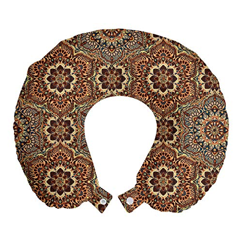 Lunarable Ethnic Travel Pillow Neck Rest, Middle Eastern Style Ottoman Flower Scroll Turkish Old Fashioned Bohemian, Memory Foam Traveling Accessory for Airplane and Car, 12', Multicolor