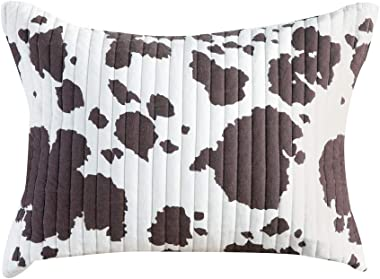 """Rod's White and Brown Cow Print Sham. Reverses to a Brown and White Pattern.Ties on The Reverse. Measures 20"""" W X 26&"""