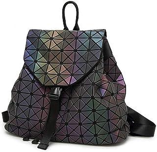 Asdfnfa Backpack, Geometric Lingge Women Rucksack Backpack Luminous Flash Travel Shoulder Bag School Backpack,Holograph fo...