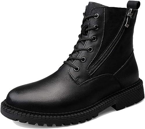 LIUYL Bottes en Cuir pour Hommes Bottes de Combat Militaires Chaussures Hautes à Fermeture à glissière latérale Bottillons à Lacets Bottes Chaudes Chaussures de randonnée pour Sports d'hiver,noir-47