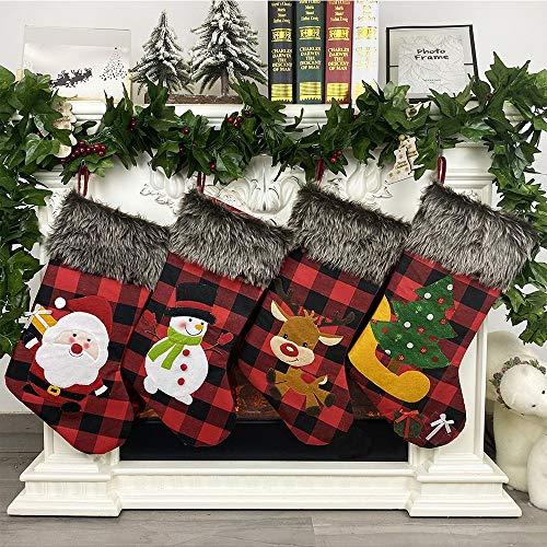 SCCS Adornos Navidad Calcetines para Colgar Decoración Casa Bolsa de Regalo Muñecos Habitación Chimenea Manualidades Tela Vintage Regalos (Grandes, Juego de 4 (Cuadros))