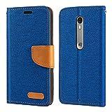 Étui portefeuille en cuir Oxford pour Motorola Moto X Pure avec coque arrière en TPU souple et...