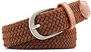 2020 Simple Fashion Thin Belt Ladies Casual Elastic Belt Canvas Buckle Woven Braided Belt Trend Wild Fashion (Belt Length : 110cm, Color : Brown)