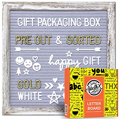Rustic White Frame Gray Felt Letter Board 10x10 inches with Letters| Pre Cut & Sorted | Gold & White Characters, Months & Days Cursive Word, Symbols & Emojis | Gift Box+ Stand+Sorting Tray +Wall Mount