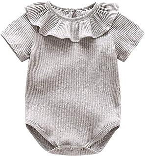 ZEVONDA Infant Toddler Baby Girl Clothes - Ruffle Romper Bodysuit Baby Onesies