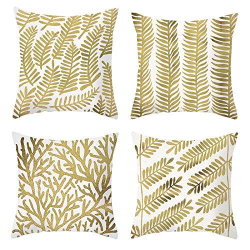 AmDxD Juego de 4 fundas de almohada 100% poliéster, funda de almohada cuadrada de 40 x 40 cm, color dorado