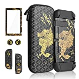 FANPL Carrying Case Bundle for Nintendo Switch, Monster Hunter Rise Accessories Set for Switch with Black Travel Carrying Case, Dockable Hard PC Cover, Screen Protector, Thumb Grip Caps (Black Gold)