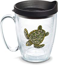Tervis 1302132 Sea Turtle Insulated Tumbler with Emblem and Black Lid, 16oz Mug, Clear