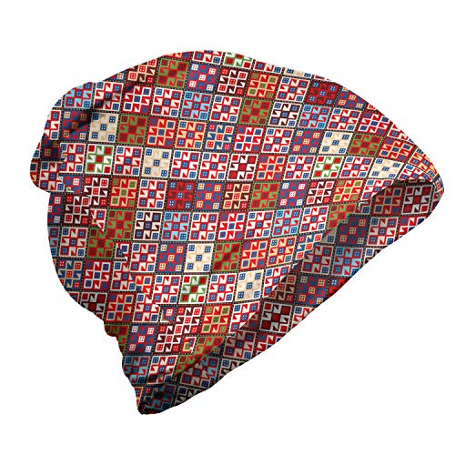 ABAKUHAUS Vistoso Gorro Unisex, Alfombra nómada Tribal, Tela Suave 100% Microfibra Estampada Ideal para Actividades al Aire Libre, Multicolor