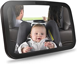 Ideapro Baby Car Mirror for Headrest, Backseat Rear View Facing with Wide Convex Shatterproof Glass and Fully Assembled Back Seat, Wide View Adjustable Acrylic 360° for Infant Safety