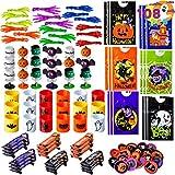 JOYIN 108 Pezzi di Halloween Giocattoli per Bambini,18 Pacchetti di Goodie Bags con Mani appiccicose, Popper, Mini Skateboard, trottole e Giocattoli della Molla Bomboniere
