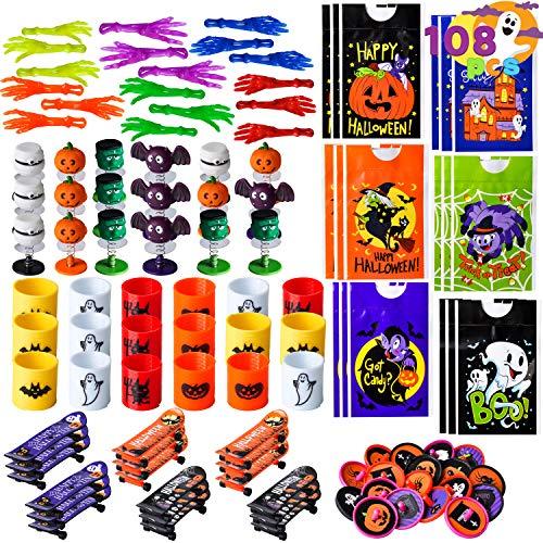 JOYIN 108 PCS Jouets d'halloween pour Enfants, Paquet de 18 Sacs Cadeaux, Mains Collantes, Mini Skateboard, Toupies etc, Fournitures d'halloween