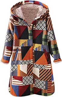 Women's Casual Color Block Hoodie Coat Long Sleeve Front Button Plaid Jacket Outwear