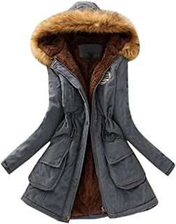Beautyfine Women Fashion Hooded Parka Coats Faux Fur Collar Long Sleeve Winter Warm Patchwork Outwear