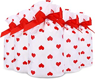 Valentines Day Treat Bags Candy Goodie Party Supplies - 50 Packs Red Heart Drawstring Plastic Wrap, Chocolate Biscuit Cook...