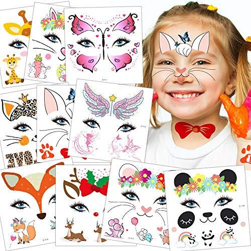 Sporgo Tattoo Kinder, Einhorn Fußball Märchen Kleine Fee und Elfen Halloween Tattoos Set,Temporäre Tattoos Kinder Aufkleber für Kindergeburtstag Mitgebsel Party (Schmücke Gesichtsaufkleber)