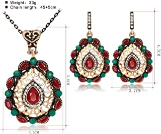 Mixed Color Vintage Hollow Out Resin Rhinestone Necklace Earrings Jewelry Set