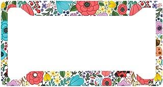 Airstrike Boho Flower License Plate Frame, Floral Pattern Car Tag Frame, Hippie License Plate Holder, Cute License Plate Frame-30-778