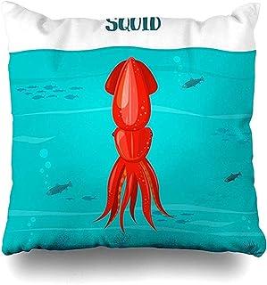 Funda de Almohada Funda de Almohada Sepia Calamar Azul del océano Fauna roja Carácter atlántico Crustáceo Funda de cojín Fresca