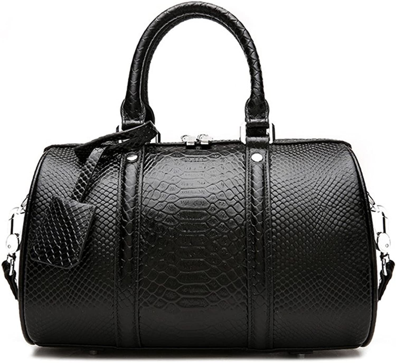 Sturdy New Snakeskin Pattern First Layer Leather Handbag Shoulder Portable Ladies Handbag Stereo Stereotypes Simple and Practical Large Capacity (color   Black)