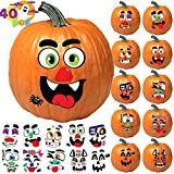 JOYIN Make 40 Faces Pumpkin Decorating Stickers with 18 Sticker Sheets in 12 Different Designs and Sizes Halloween Party Supplies Trick or Treat Party Favors