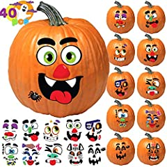 SUPER VALUE. 40 Pcs Pumpkin Decorating Craft Kit Stickers in 12 Silly and Cute Design Faces and Different Sizes. MULTIPLE COLORS. The Pumpkin Decorations Craft Kit Sticker Faces Are Made Up Of Multiple Colors: Yellow, Pink, Purple, Green, Black and W...