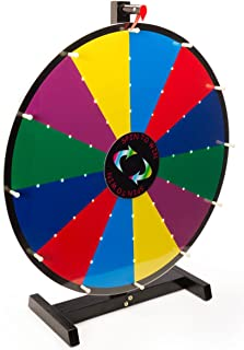 """Displays2go 24"""" Prize Wheel, 12 Slots, 6 Colors, Write-On with Dry Erase, Illuminated, Tabletop (Black Metal Frame)"""