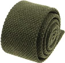 Mens Solid Knitted Wool Tie -100% Woolen Plain Skinny Necktie-Various Colors