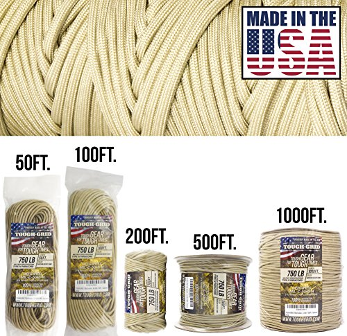 Amazing Deal TOUGH-GRID 750lb Buckskin (Desert Sand) Paracord/Parachute Cord – Genuine Mil Spec Type IV 750lb Paracord Used by The US Military (MIl-C-5040-H) – 100% Nylon – Made in The USA. 100Ft. – Buckskin