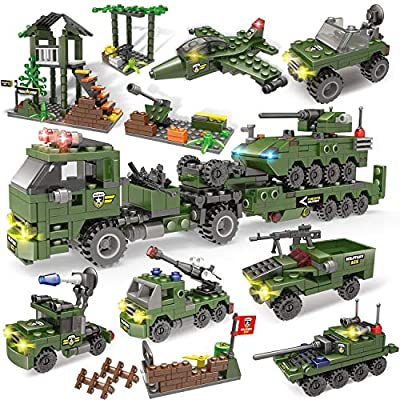 City Police, City Police Station Building Kit, Military Base Building Toy, Army Heavy Transport Truck Building Bricks Toy with Armored Vehicles, Bombing Plane for Kids Boys Girls 6-12 (1070 Pieces)