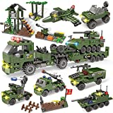City Police Station Building Kit, Army Military Base Building Set, Heavy Transport Truck Toy with Armored Vehicles & Airplane, Storage Box with Baseplates Lid, Present Gift for Kids Boys Girls 6-12