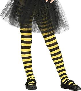 Amakando Amakando Niedliche Bienen-Strumpfhose für Mädchen / Gelb-Schwarz / Geringelte Feinstrumpfhose Hummel für Kinder / Bestens geeignet zu Kinder-Fasching & Mottoparty
