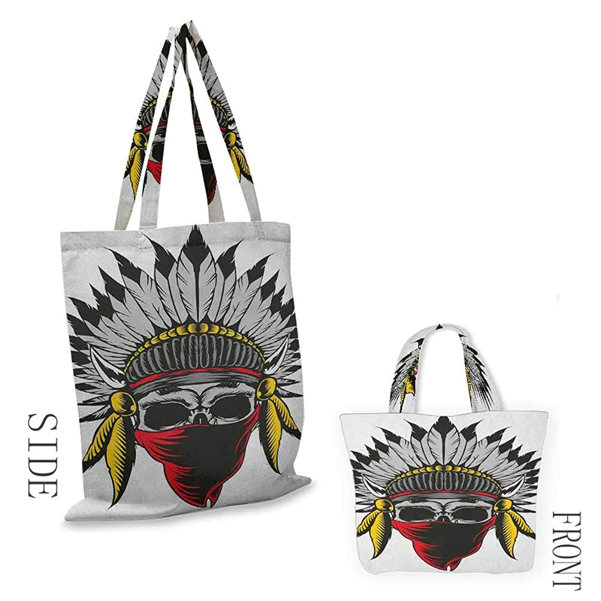 """zippered shopping bag SkullSkull Sketch with Feathers and Veil American Ethnic Figure Work of Art Print Red Grey Yellow18""""W x 16""""H"""