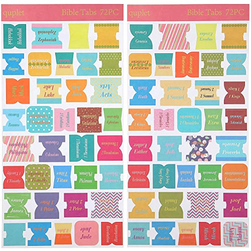 72 Pieces Bible Tabs, Peel and Stick Decorative Bible Tabs (66 Book Tabs, 6 Blank Tabs) Bible Stickers Labels Bible Book Tabs Bible Faith Stickers