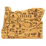 Celebrate life in The Beaver State with this beautiful bamboo cutting board in the shape of Oregon with permanent, laser-engraved artwork Fun, whimsical laser-engraved artwork calls out all the wonderful sights and places in the state from Portland t...