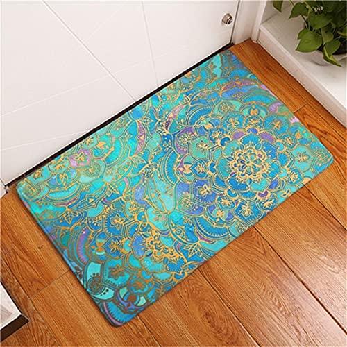 OPLJ Alfombra de Flores de Mandala Bohemia, Alfombrilla Antideslizante para Dormitorio, baño y Cocina, Felpudo A11 50x80cm