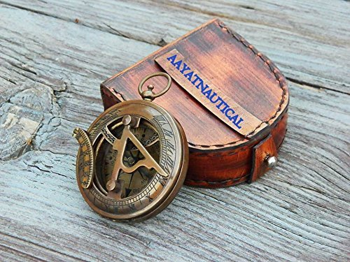 Samara Nautical Collectibles Sonnenkompass aus Messing mit handgefertigter Ledertasche A